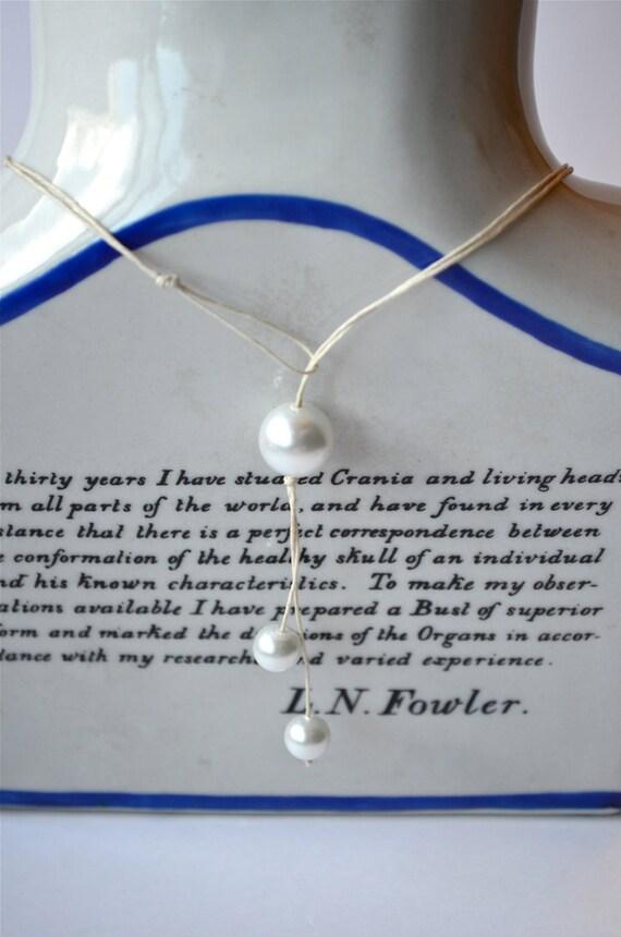 Convertible Pearl Lariat Necklace, Rustic Natural Hemp Cord, Eco Friendly & Vegan