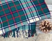 "Vintage wool plaid blanket / tartan plaid / 59"" x 75"" / GORGEOUS"