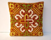 Vintage needlepoint throw pillow / Celtic cross / avocado mustard rust  camel / CLEAN