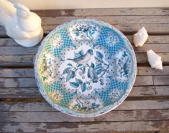 Vintage Daher tin dish / Blue Birds / 1970s
