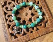 Tranquil & Zen - inspirational crystal gemstone bracelet boho yoga zen lucky frog spring