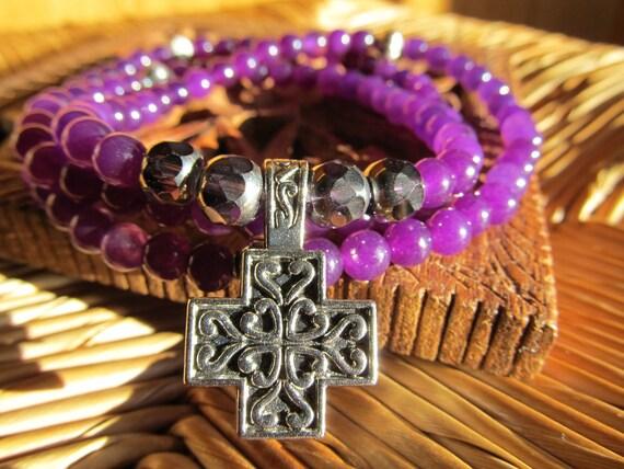 Pray & Love- inspirational crystal gemstone 108 bead mala necklace-boho yoga zen  prayer beads cross