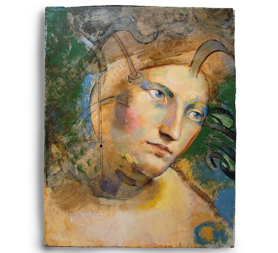 Original Figure Painting oil on wood panel -Head605-11 x 14 inches