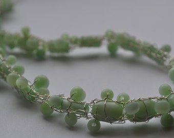 Necklace with Jadeite Green Milk Glass Beads and Hand Knitted Fine Silver Wire