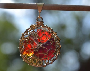 Red Amberina Genuine Sea Glass Hand Knitted 14 Kt Gold Plated Wire Pendant with 18 inch gold filled chain
