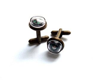 Antiqued brass compass cuff links