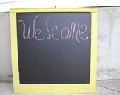 Chartreuse Chalkboard Window. Home Decor. Sign. Wedding Decor. Store Sign. Menu Board.