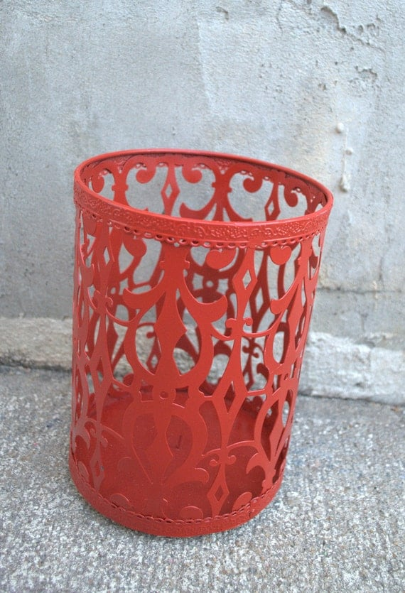 PRIVATE Listing for Sarah Lloyd ONLY Large Red Metal Candle Holder