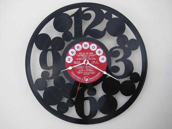 Handcrafted vinyl record clock