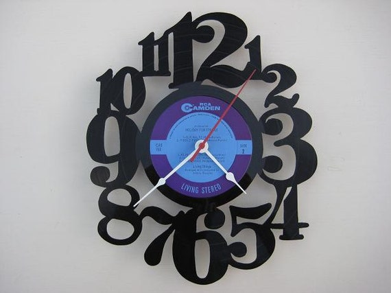 vinyl record clock (artist is Holiday for Strings)