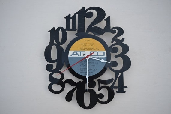 vinyl record clock (artist is Sonny and Cher)
