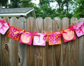Sesame Street ELMO Girly (Pink, Orange, Red) Birthday Name Banner