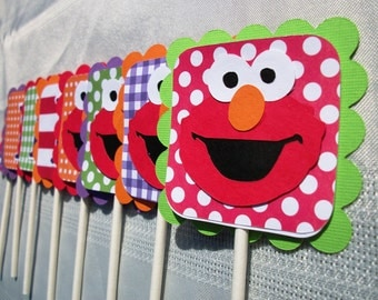 Sesame Street ELMO Girly Primary (Red, Orange, Purple, Lime) Cupcake Toppers (Set of 12)