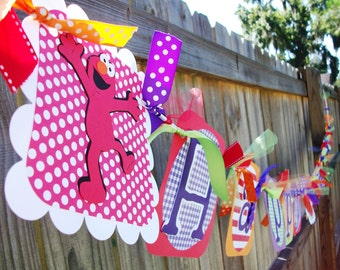 Sesame Street ELMO Girly Primary (Red, Orange, Purple, Lime) Happy (Age) Birthday Banner