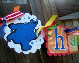 Sesame Street True Primary (ROYGB) Happy Age Birthday Banner