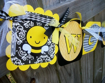 "Bumble Bee ""Welcome Baby"" (Yellow and Black) Baby Shower Banner"