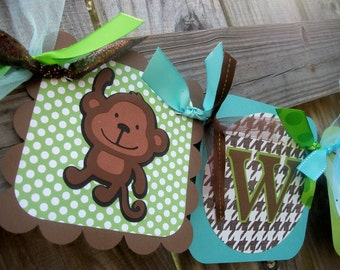 "Monkeys and Banana ""Welcome Baby"" (Lt Blue, Aqua, Green, & Brown) Baby Shower Banner"