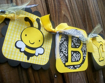 Bumble Bee (Yellow & Black) Birthday Name Banner