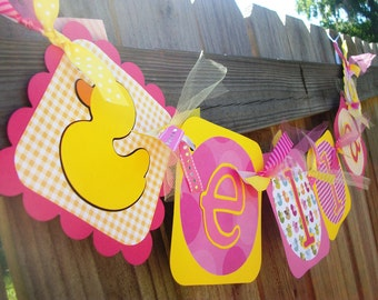 Rubber Duckies (Pink & Yellow) Name Banner