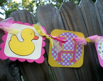 Rubber Duckies (Pink and Yellow) Happy (Age) Birthday Banner