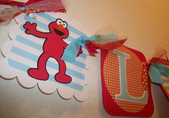 Sesame Street ELMO (Light Blue, Orange, Red) Birthday Name Banner