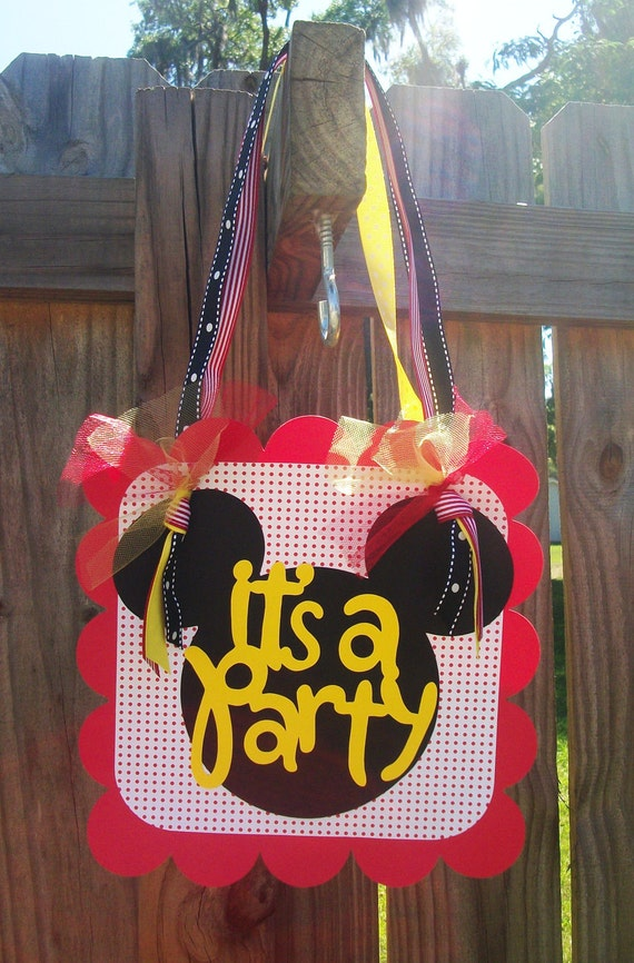 "Mickey Mouse ""It's a Party"" (Black, Red, Yellow) Door Sign"