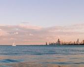 Chicago Art, Lake Michigan Photography, Sunset Prints, Skyline Wall Art, Sunset Sail