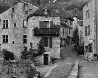 France Photography, French Countryside Landscape Art, Black and White Photography, European Travel Print, Wanderlust Photo, French Village