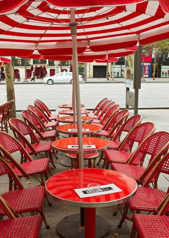 Paris Photography, Paris Cafe Print, Red Wall Art, France Wanderlust Prints, Paris Travel Photo, French Wall Decor, On Champs-Élysées