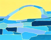 "Blue Arch, 8""x10"" Original Acrylic Abstract"