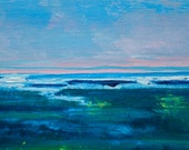 "Reserved for MG - Spring Sea, Framed 8""x10"" Original Acrylic Seascape"