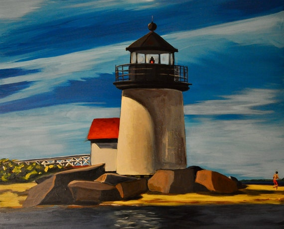 "Nantucket Brant Point Light, 16""x20"" original acrylic landscape"