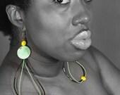 Green Loop Drop Earrings