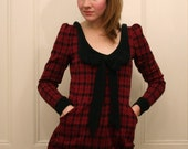 RESERVED Im Your Present Red Plaid Collared Playsuit