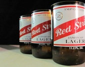 Handcrafted - Recycled Beer Bottle Drinking Glasses - Red Stripe - Set of 4