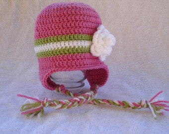 Bright pink earflap hat with bright green and white stripe-Size 12 to 24 months (Other sizes available)