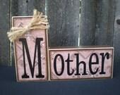 Wooden Home Decor Blocks - MOTHER