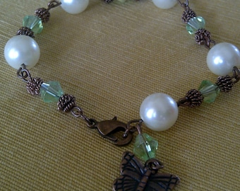 Emerald Green Crystal, Vintage Pearls, and Copper Bracelet with Butterfly Charm from the Emerald Spring City Collection