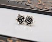 Antique Silver Rose Earrings. Antique Rose.