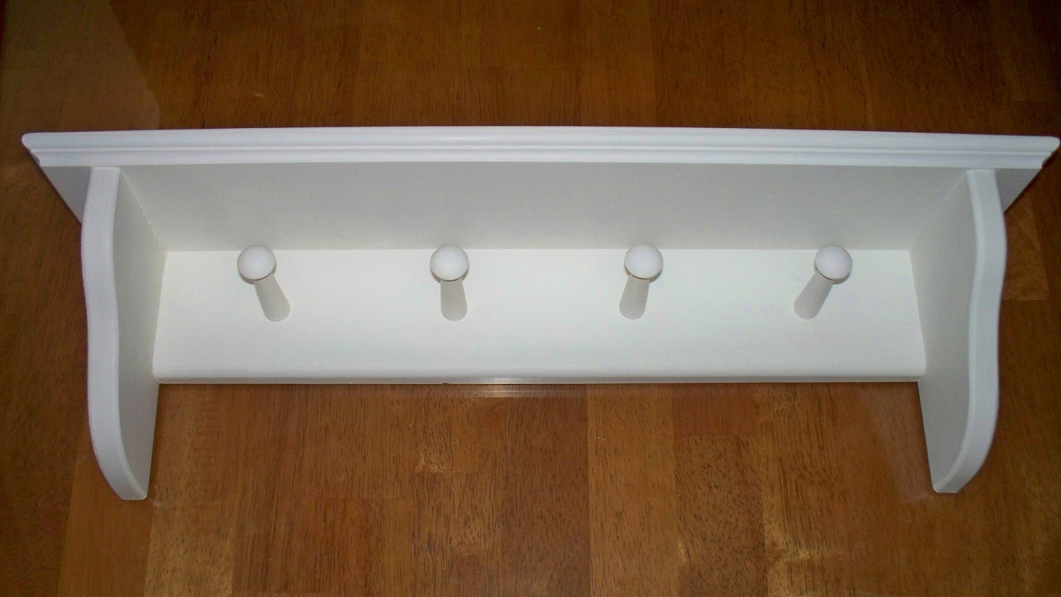 Coat Rack Wall Mounted Shelf Shaker Peg Shelf With 4 Pegs