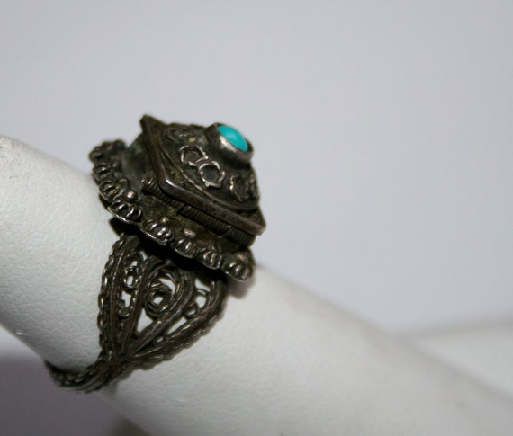 Egyptian Poison Ring Sterling Silver