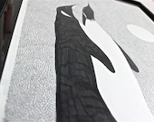 Penguin Ink Drawing black white 14x17 inch