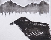 Raven mountains original watercolor painting, in black and white