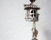 Fairy gnome mushroom house handmade from fine silver, with white sapphire and dragonfly