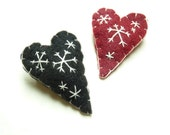 Snowflake Valentine hearts, hand sewn pins, listing for TWO pins