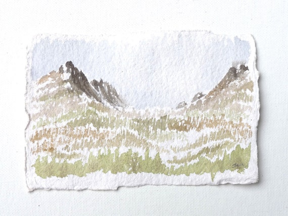 Pastel mountain watercolor painting 4 x 6 Copper Basin in North Cascade Mountains, above Holden Village, Washington