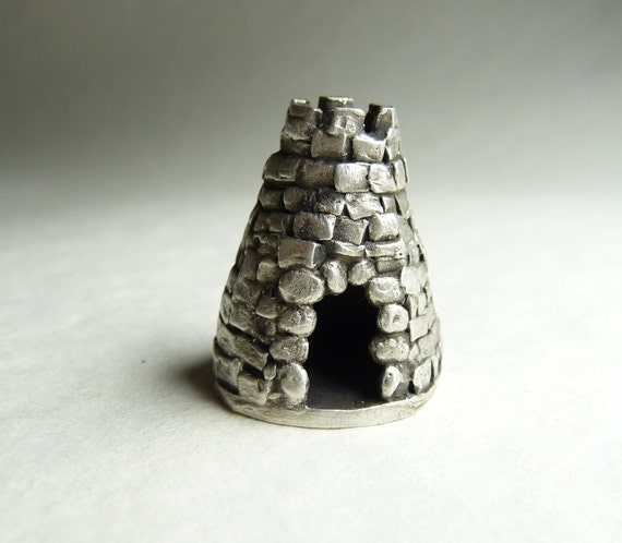 "Miniature castle with hidden message inside built by hand from recycled fine silver, ""The Renhewitz Tower"""