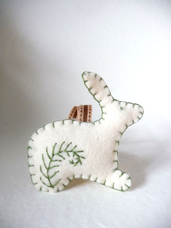 Easter bunny sage green ornament with fern design