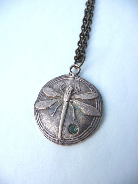 Dragonfly pendant made from vintage button mold out of pure bronze with peridot gemstone
