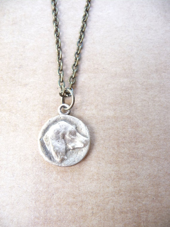 Dog faithful companion pendant made from mold of vintage button